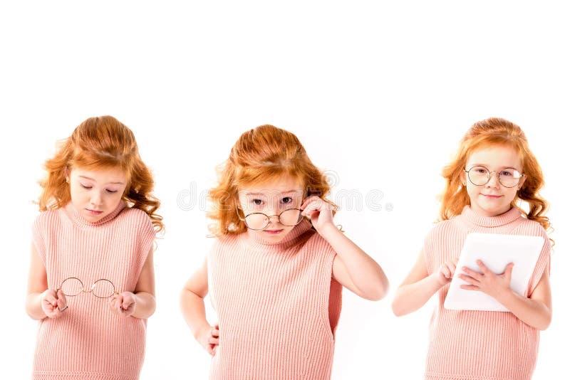collage met schoolkind status met glazen en tablet, stock foto's