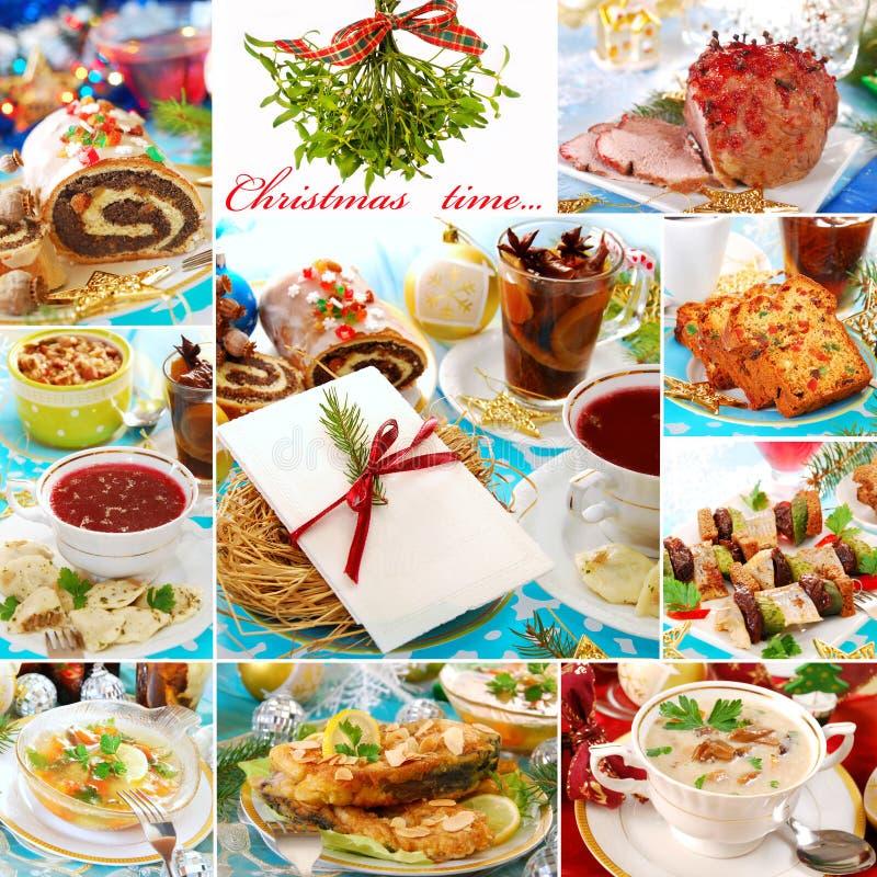 Collage met traditionele poetsmiddelschotels voor Kerstmis royalty-vrije stock afbeeldingen