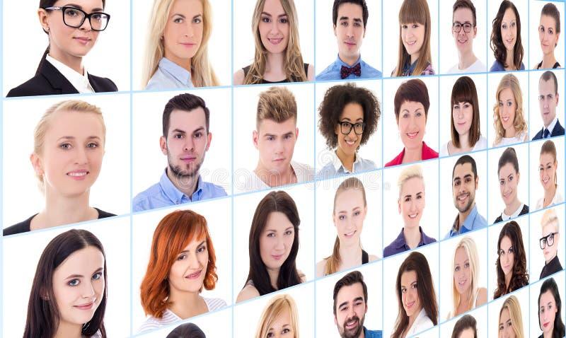 Collage met vele bedrijfsmensengezichten over wit stock foto