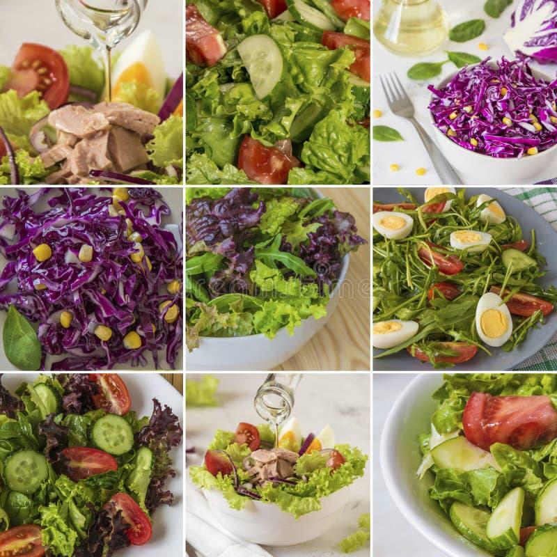 Collage met verse salades, groene bladeren, groenten, tonijn stock afbeeldingen