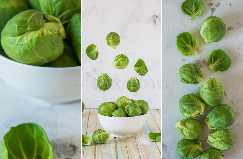 Collage met verse spruitjes, ruwe organische groente stock afbeelding