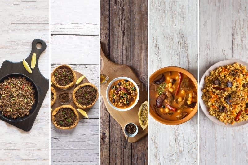 Collage met vleesschotels van de wereldkeuken royalty-vrije stock afbeelding