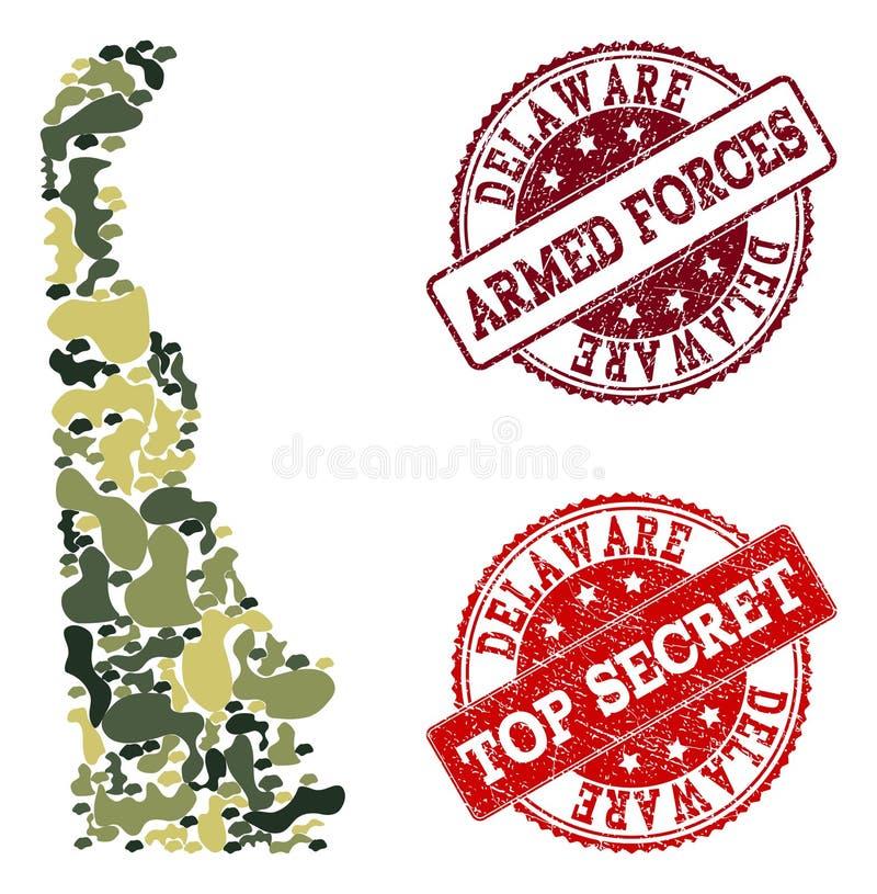 Collage militaire de camouflage de carte d'état du Delaware et de timbres secrets grunges illustration stock