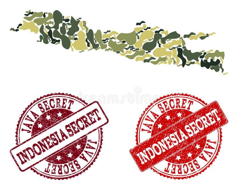 Collage militaire de camouflage de carte de Java Island et des timbres secrets grunges illustration libre de droits
