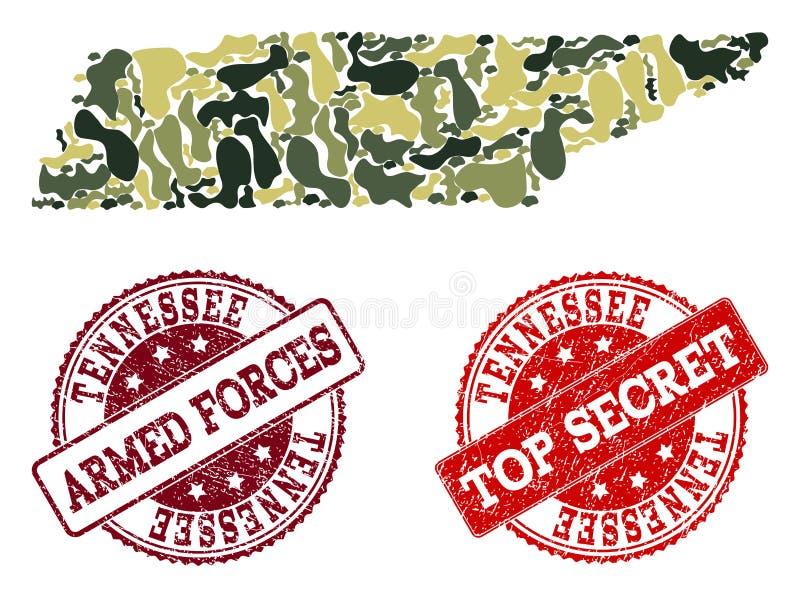 Collage militaire de camouflage de carte de Tennessee State et des timbres secrets texturisés illustration de vecteur