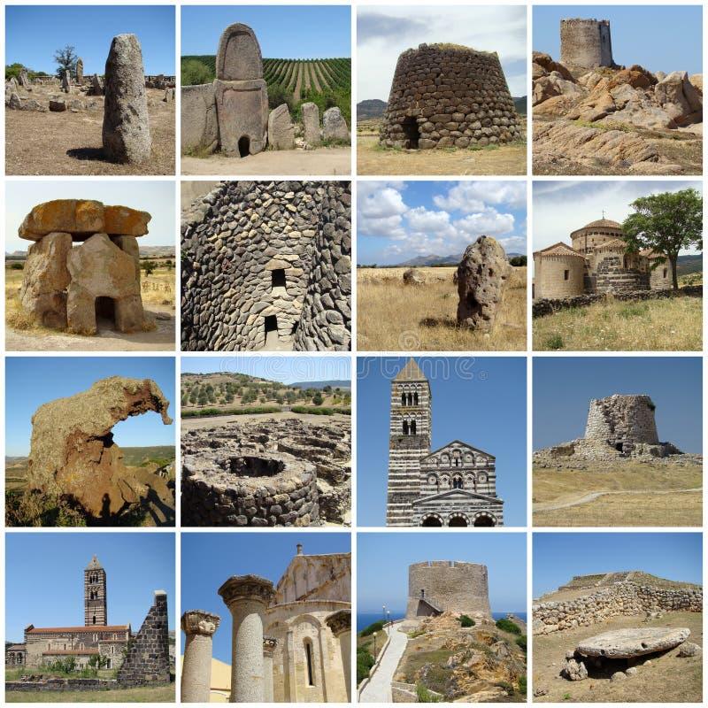 Collage mit altem Erbe von Sardinien lizenzfreie stockfotos