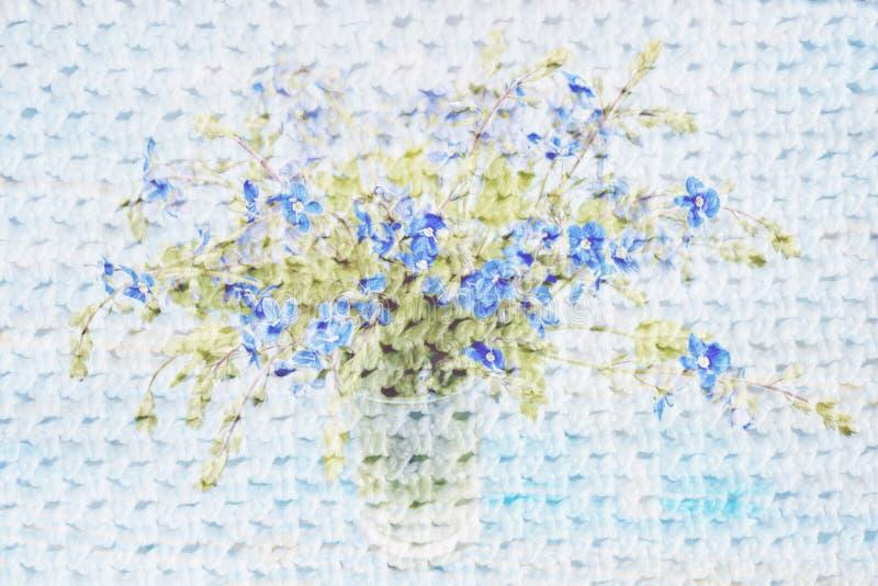 Collage mit Blumen und Häkelarbeitmuster stockfoto