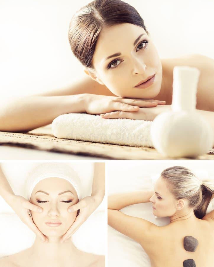 Collage mit der jungen und gesunden Frau, die im Badekurortsalon sich entspannt Mädchen, das traditionelle orientalische Aromathe lizenzfreie stockfotografie