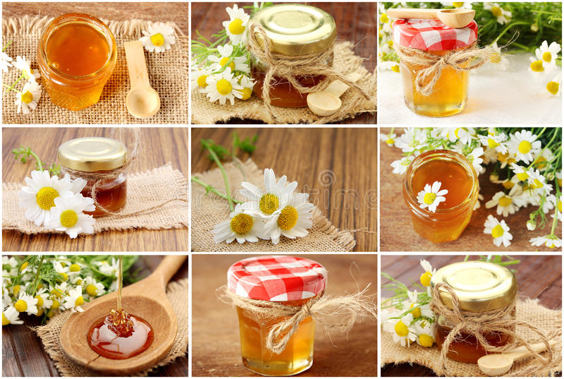Collage mit frischem Honig lizenzfreies stockfoto