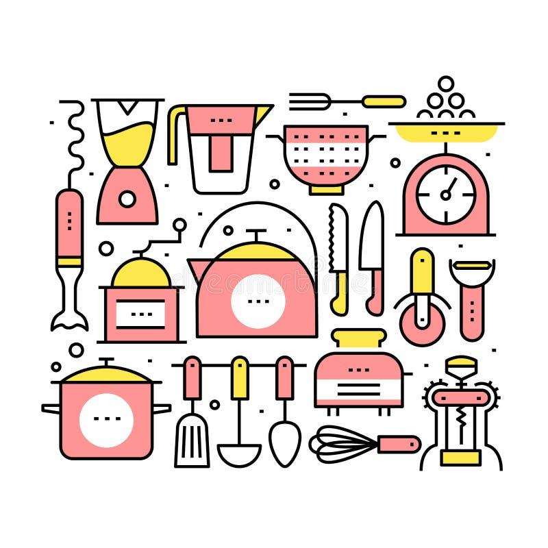 Collage mit Küchengeräten und -geräten vektor abbildung