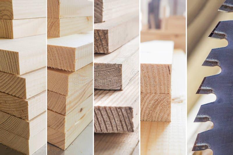 Collage mit Kreissägeschneidebrett Unterschiedlicher hölzerner Plankenbeschaffenheitshintergrund stockfoto