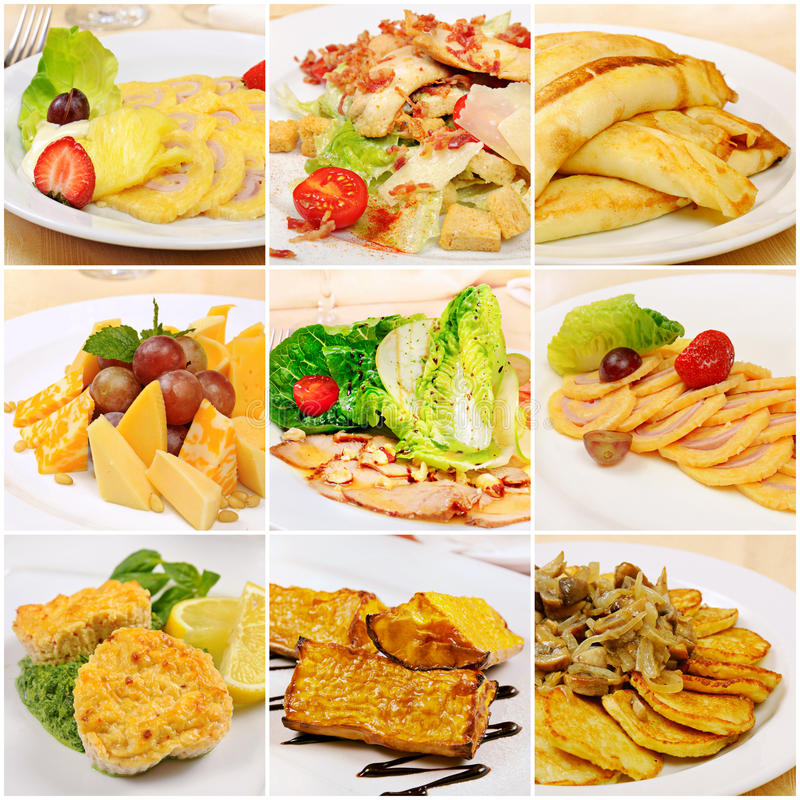 Collage mit Mahlzeiten stockfoto