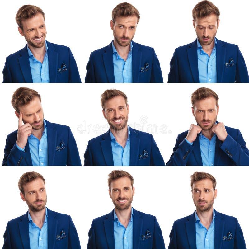 Collage mit neun Bildern von ein jungen eleganten Mann ` s Gesichtern stockbild