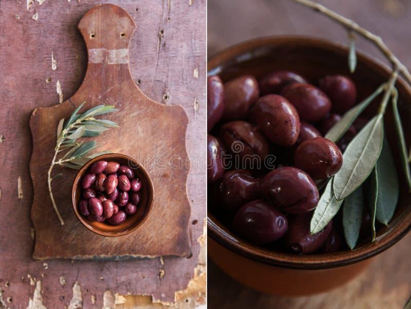 Collage mit Oliven auf einem Holztisch lizenzfreies stockbild