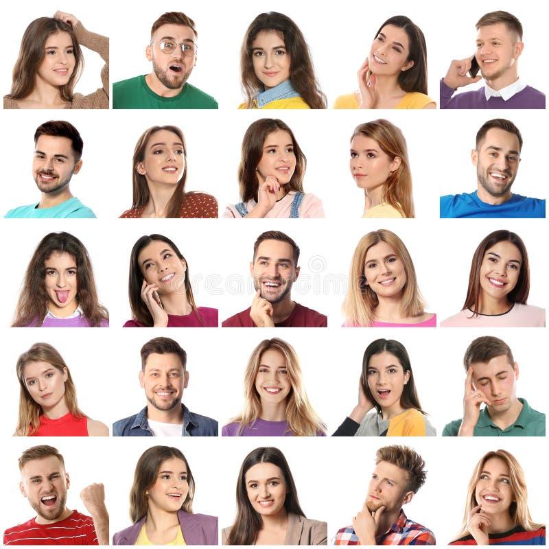 Collage mit Porträts von Leuten auf Weiß stockfotografie