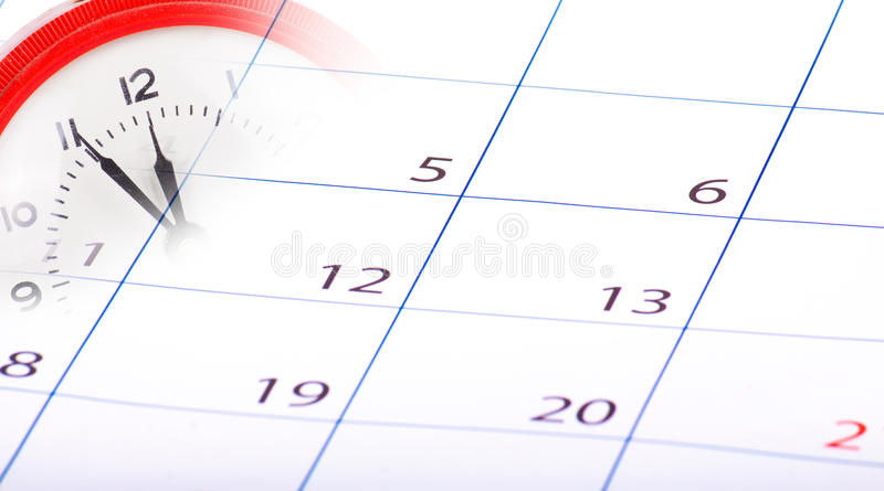 Collage mit Uhr und Kalender stockfoto
