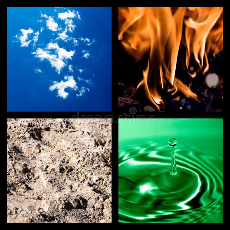 Collage mit vier Elementen lizenzfreie stockbilder