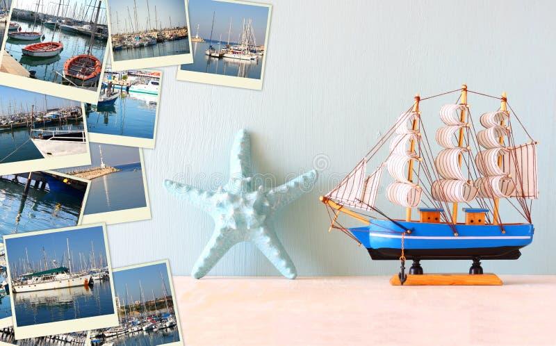 Collage mit Yachten, Booten, Leuchtturm und einem Küstenseekonzept lizenzfreie stockfotos