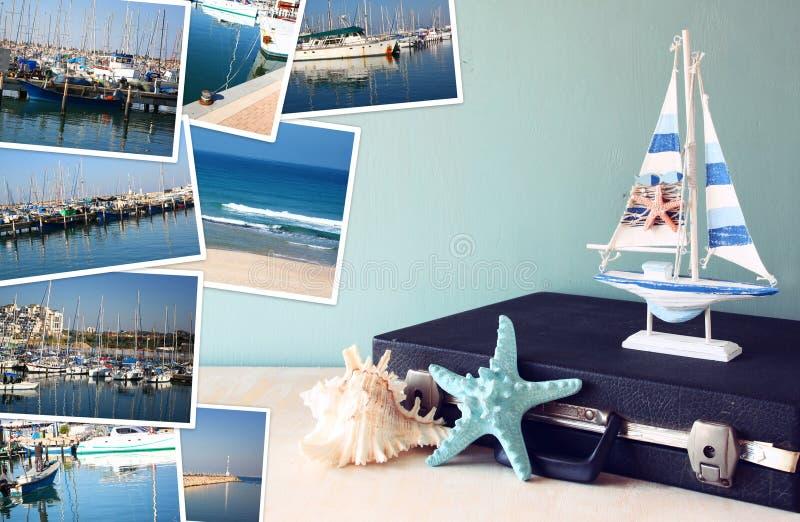 Collage mit Yachten, Booten, Leuchtturm und einem Küstenseekonzept lizenzfreies stockfoto