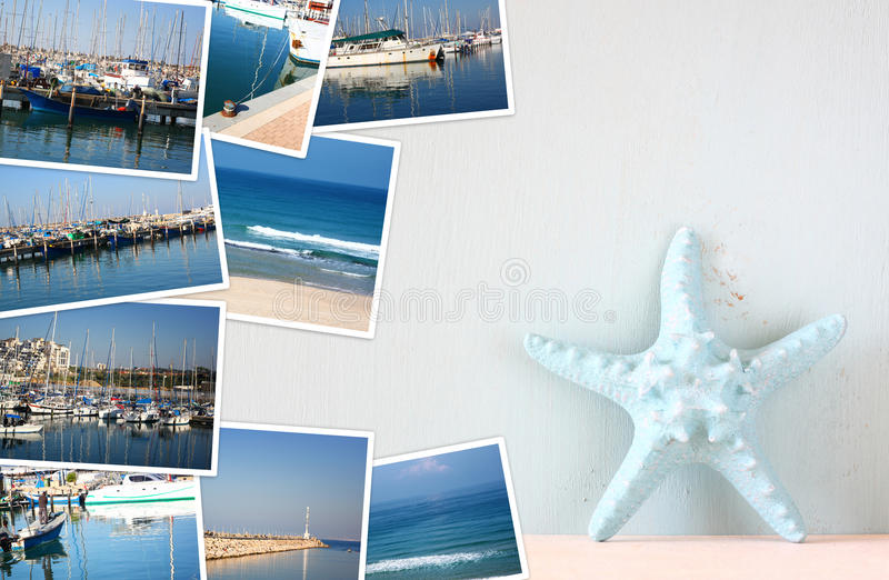 Collage mit Yachten, Booten, Leuchtturm und einem Küstenseekonzept stockbild