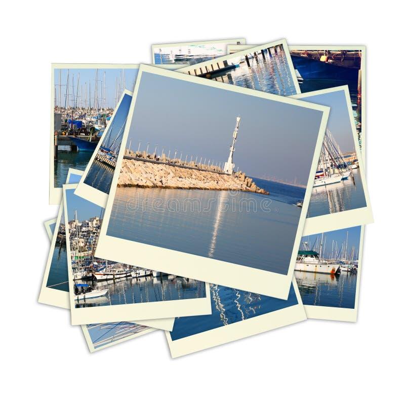 Collage mit Yachten, Booten, Leuchtturm und einem Küstenseekonzept Lokalisiert auf Weiß lizenzfreie stockfotos