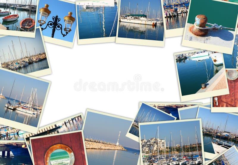Collage mit Yachten, Booten, Leuchtturm und einem Küstenseekonzept Lokalisiert auf Weiß stockfotografie