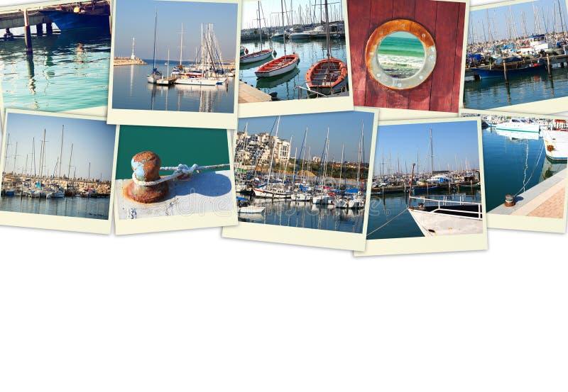 Collage mit Yachten, Booten, Leuchtturm und einem Küstenseekonzept Lokalisiert auf Weiß lizenzfreies stockfoto