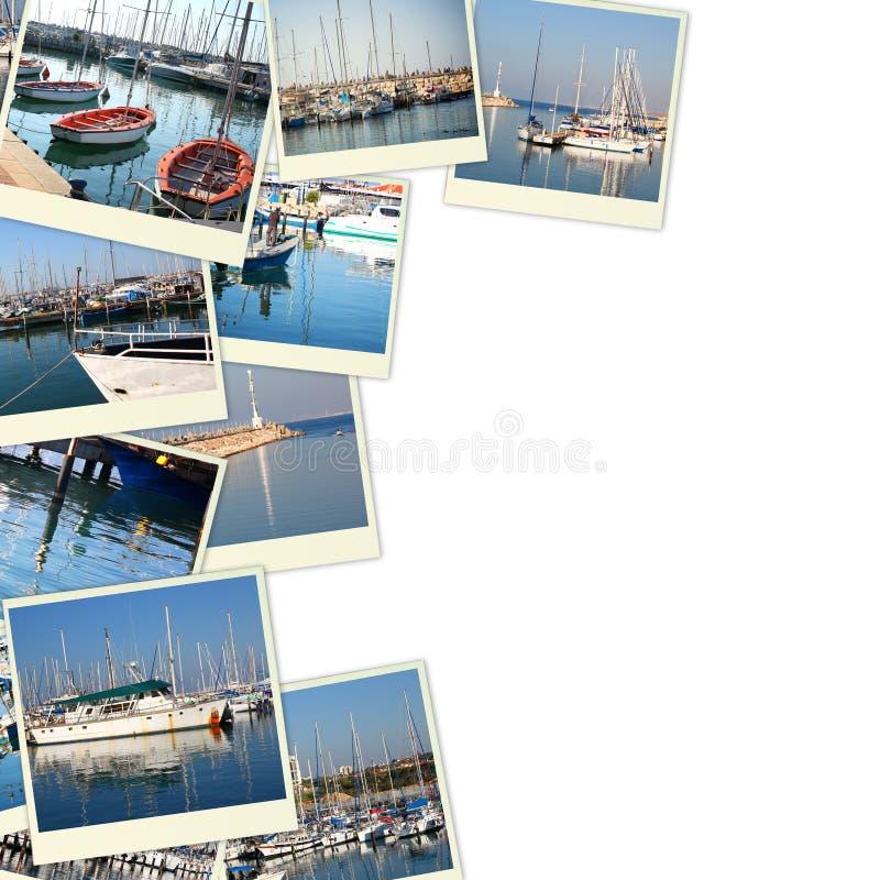 Collage mit Yachten, Booten, Leuchtturm und einem Küstenseekonzept Lokalisiert auf Weiß stockbild