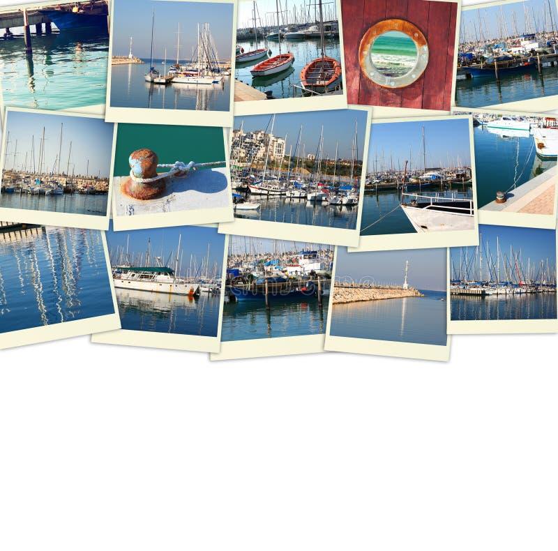 Collage mit Yachten, Booten, Leuchtturm und einem Küstenseekonzept Lokalisiert auf Weiß stockfoto