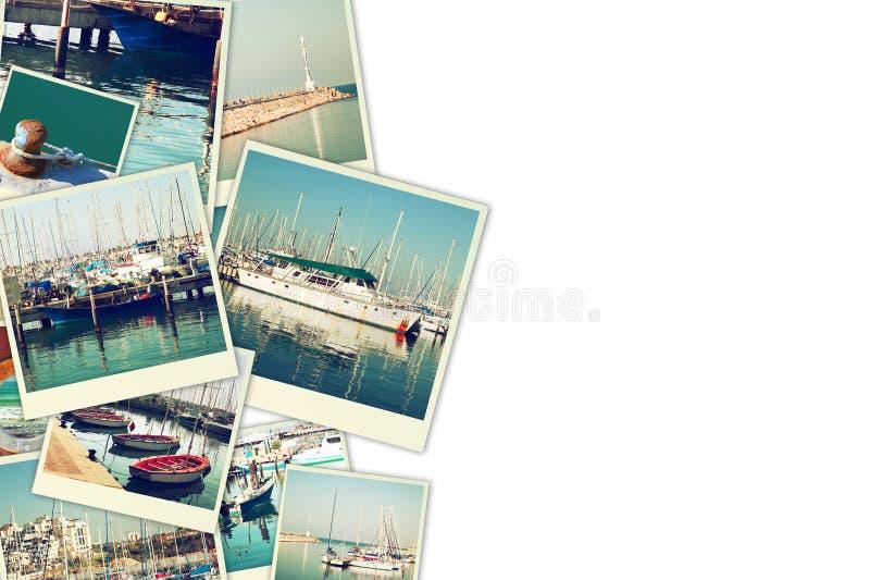 Collage mit Yachten, Booten, Leuchtturm und einem Küstenseekonzept Lokalisiert auf Weiß lizenzfreie stockfotografie