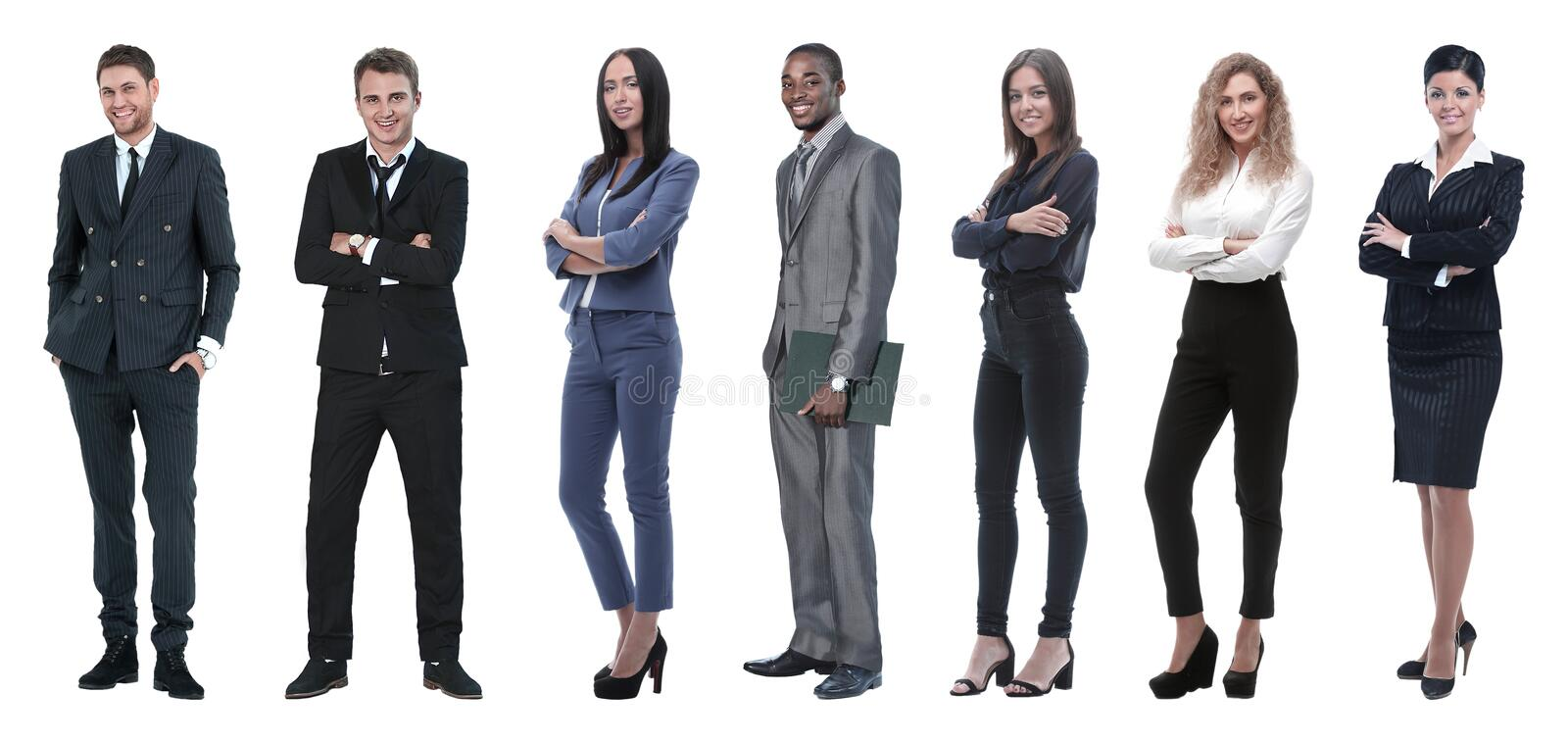 Collage of mixed age group of focused business professionals. Group of smiling business people. Businessman and women team royalty free stock photo