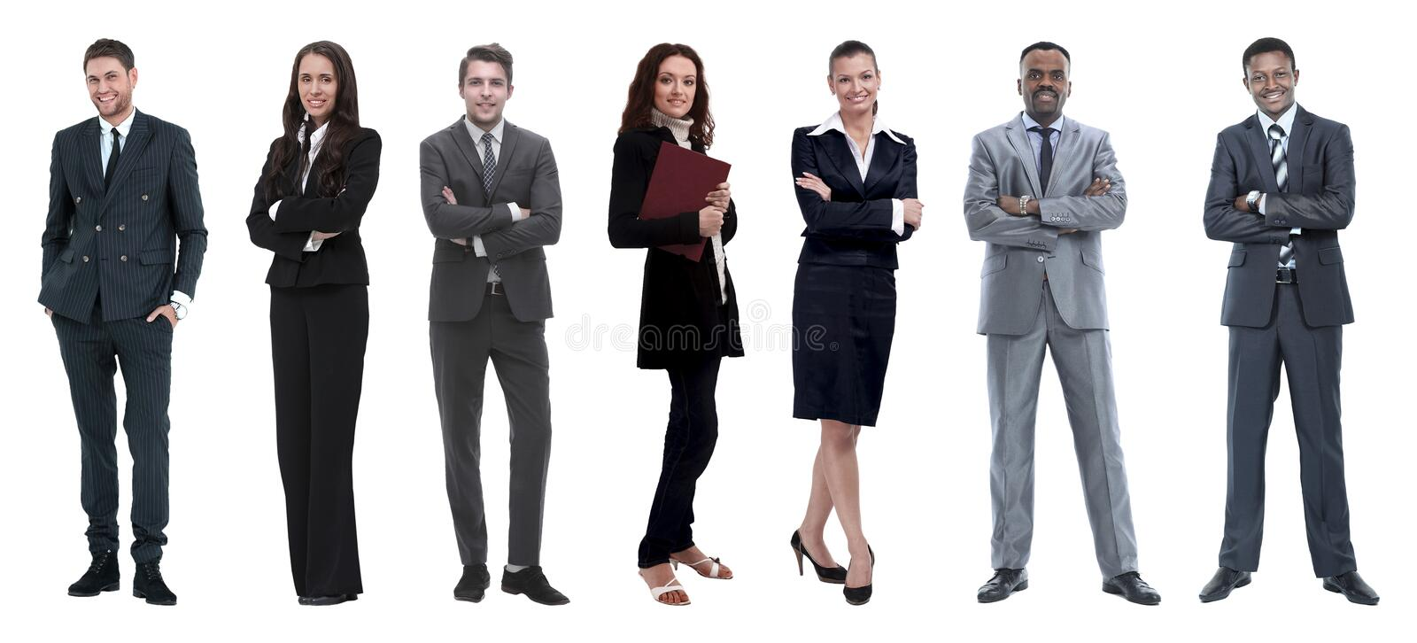 Collage of mixed age group of focused business professionals. Group of smiling business people. Businessman and women team stock photography