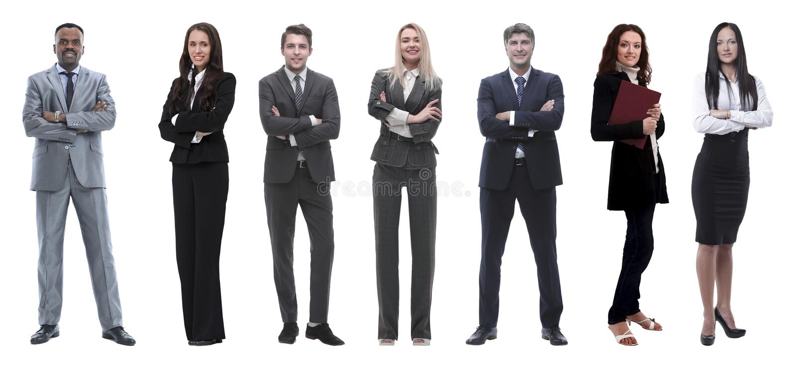Collage of mixed age group of focused business professionals. Group of smiling business people. Businessman and women team stock images