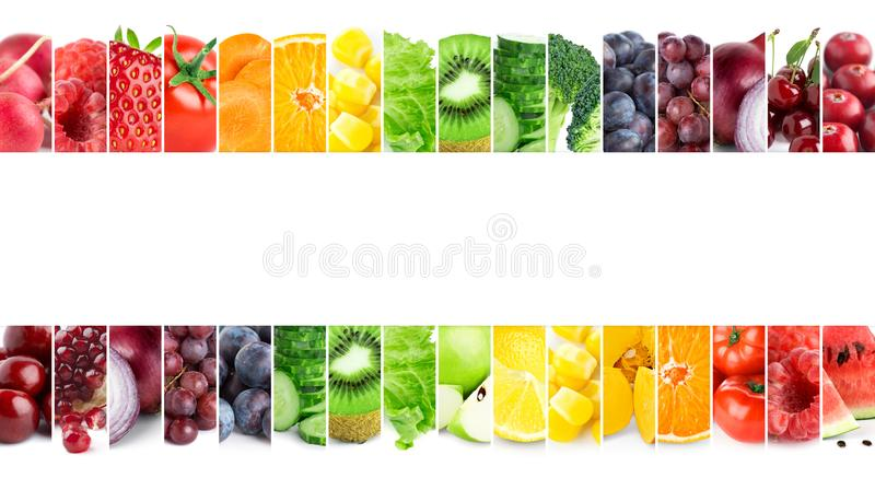 Collage of mixed fruits and vegetables. Fresh food. Concept. Collage of mixed fruits and vegetables. Fresh food stock photo