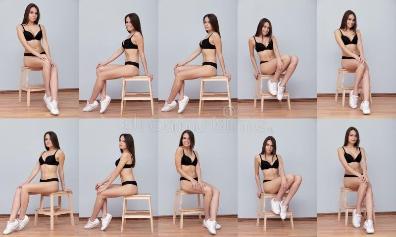 Collage modello castana dei colpi della prova di giovane che posa seduta sulla scala contro la parete per la cartella di istantan fotografia stock libera da diritti