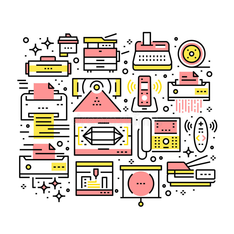 Collage of modern office electronics and devices royalty free illustration