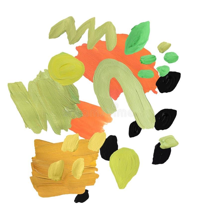 Collage moderno del aguazo Composición con pinceladas y manchas de la pintura Paleta de color neutral de moda stock de ilustración