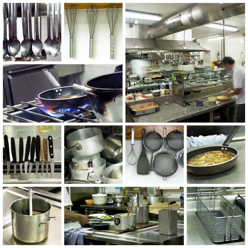 Collage moderno della cucina dell'hotel fotografie stock libere da diritti