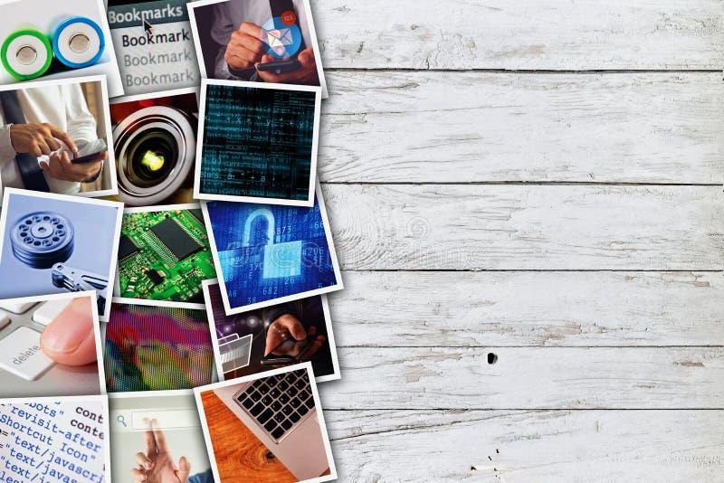 Collage moderno della foto di tecnologie informatiche fotografie stock libere da diritti
