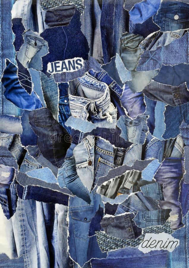 Collage mood board made of torn pieces of paper. Vintage collage mood board made of torn pieces of paper in blue denim jeans textures with symbols letters in zen stock images
