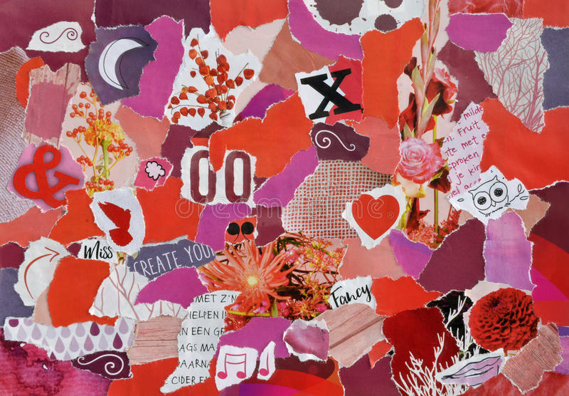 Collage mood board made of torn pieces of paper. Vintage collage mood board made of torn pieces of paper in red, purple, pink and orange colors with symbols royalty free stock photos