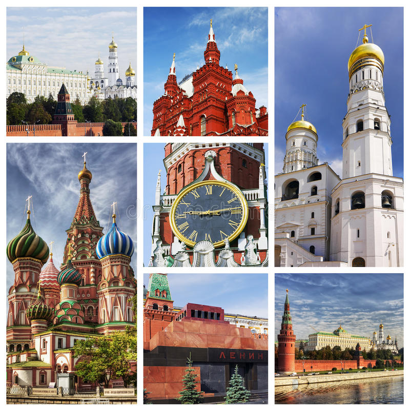 Collage Moscow Kremlin royalty free stock image