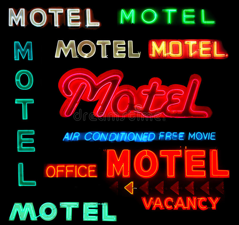Free Collage Motel Neon Signs Royalty Free Stock Photo - 10911845
