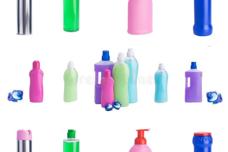 Collage, multi-colored producten, voor persoonlijke hygiëne, het schoonmaken oppervlakten, bevochtigende en wassende kleren, op e stock foto's