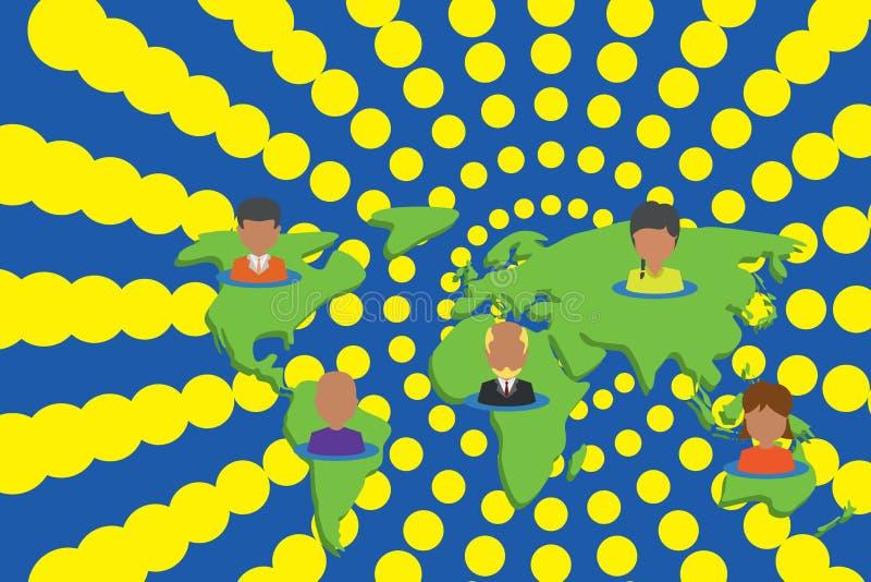 Collage multi-etnische mensen op wereldkaart Portretten van de inzamelings plaatsten de verschillende persoon vijf continenten in royalty-vrije illustratie