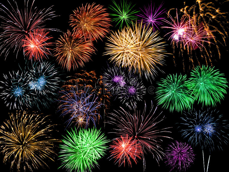 Collage of Multicolored Fireworks royalty free stock photo
