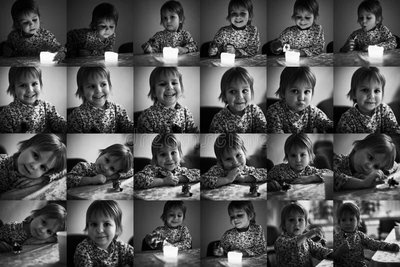 Collage multiplo con i ritratti di uno stesso ragazzino sveglio Rebecca 36 immagine stock libera da diritti