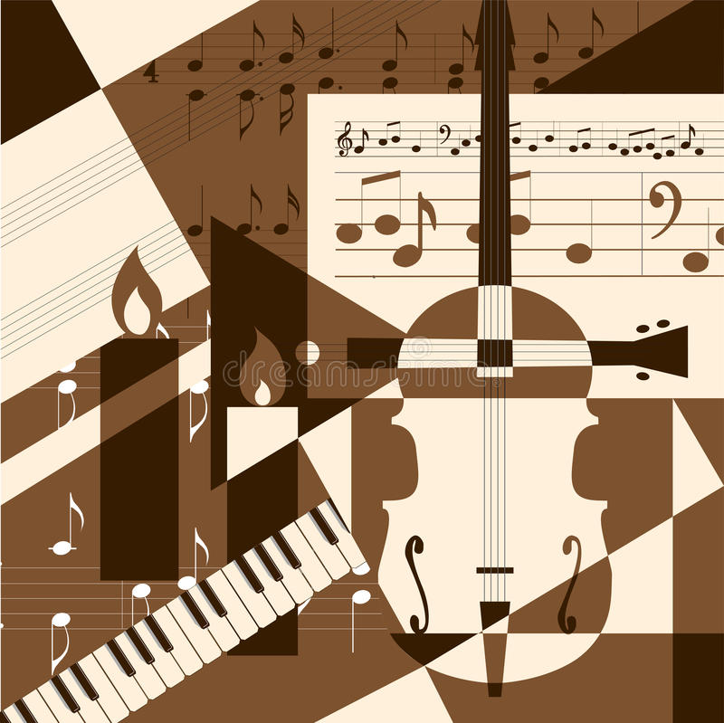 Collage with musical instruments stock illustration