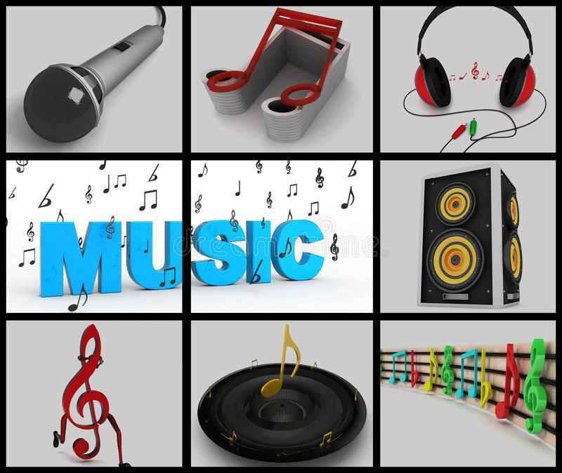 Collage of musical notes and musical equipments