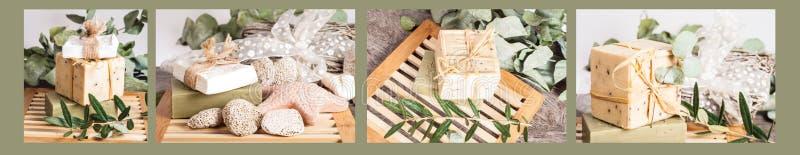 Collage natural del jabón foto de archivo